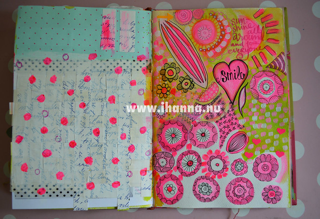 Art Journal Spread: I Love Neon Pink - by @iHanna // Copyright Hanna Andersson
