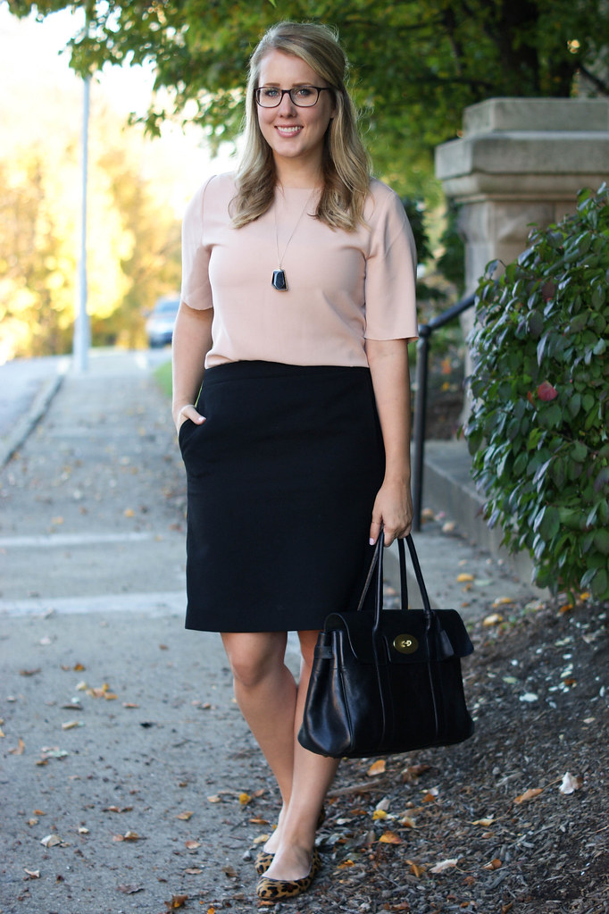 blush top with pencil skirt and leopard shoes