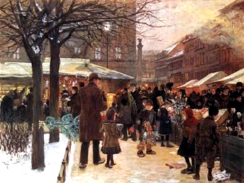Christmas market in Berlin by Franz Skarbina - 1892