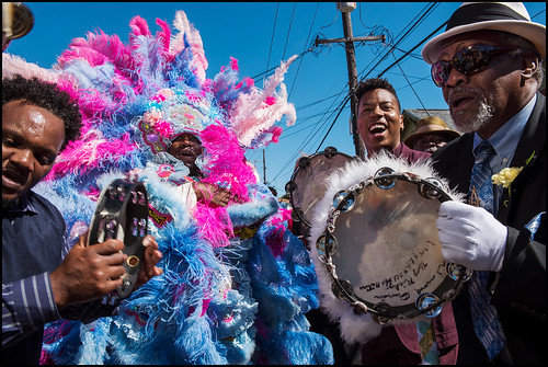 Spy Boy Horace of Creole Wild West, Christian Scott, Spy Boy Rick and others honor Edwin Harrison during his funeral second line on October 21, 2016 in Treme. Photo by Ryan Hodgson-Rigsbee - rhrphoto.com