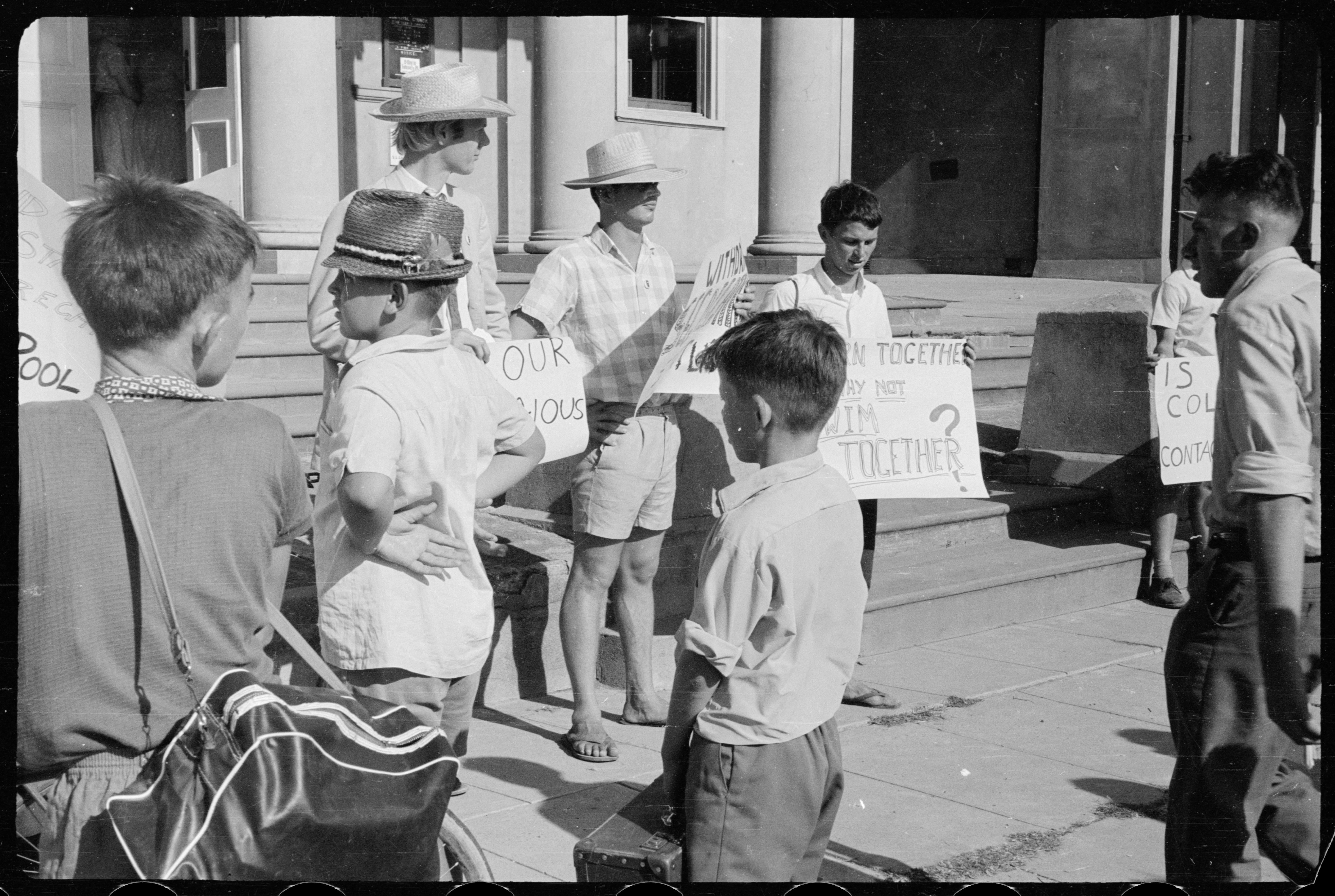 Student Action for Aborigines protest outside Moree Town Hall and Council Chambers, February 1965 / The Tribune