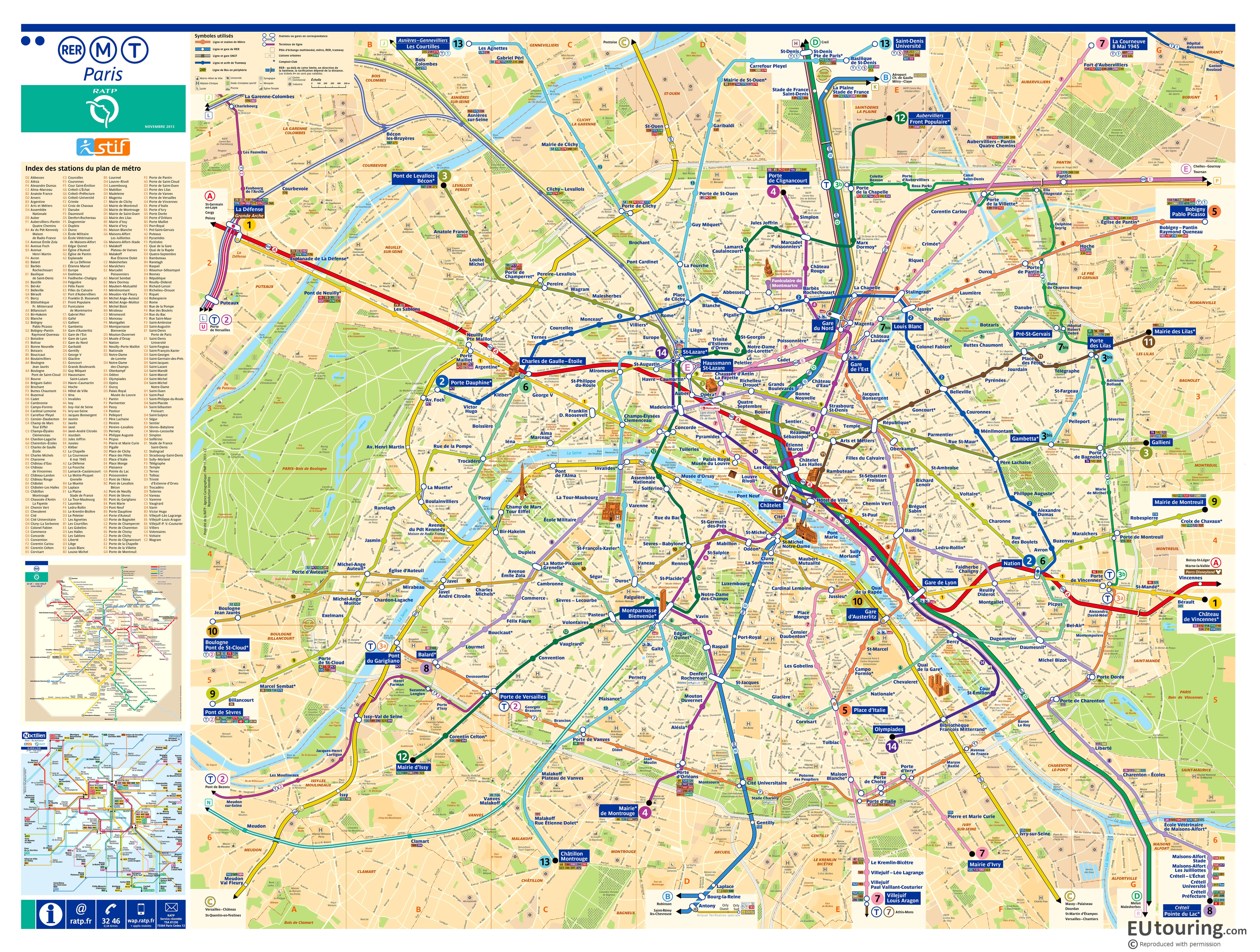 Street plan Paris Metro map