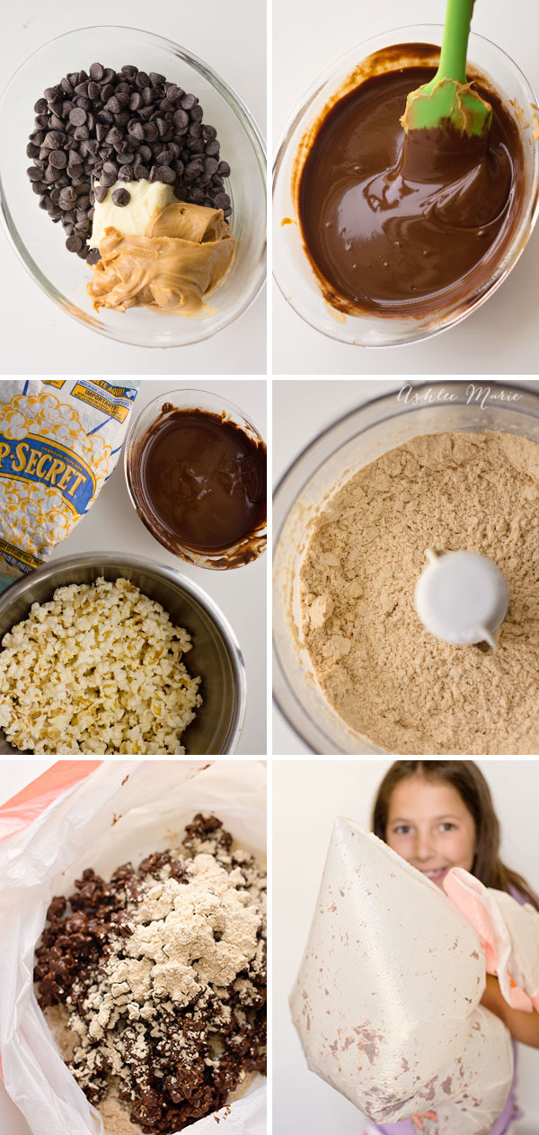 Just like other Muddy buddy recipes this popcorn puppy chow is even more delicious with a powdered peanut butter coating