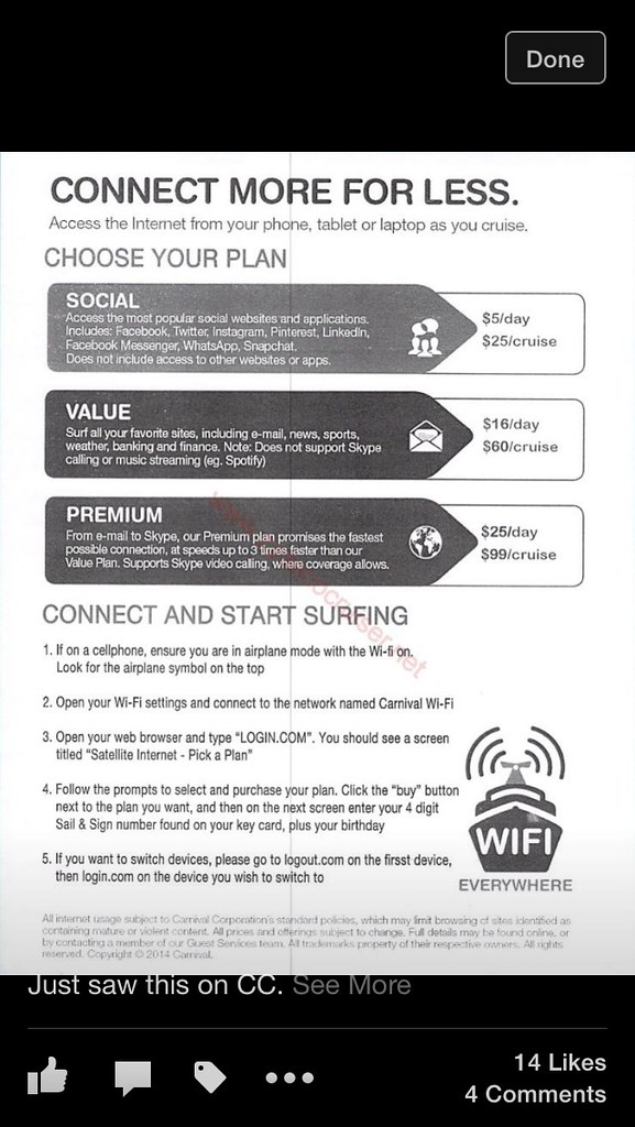 Carnival Cruise Internet >> Cost For 7 Day Carnival Cruise Internet Access Carnival