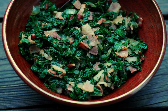 Kale with bacon and vinegar by Eve Fox, the Garden of Eating blog, copyright 2014