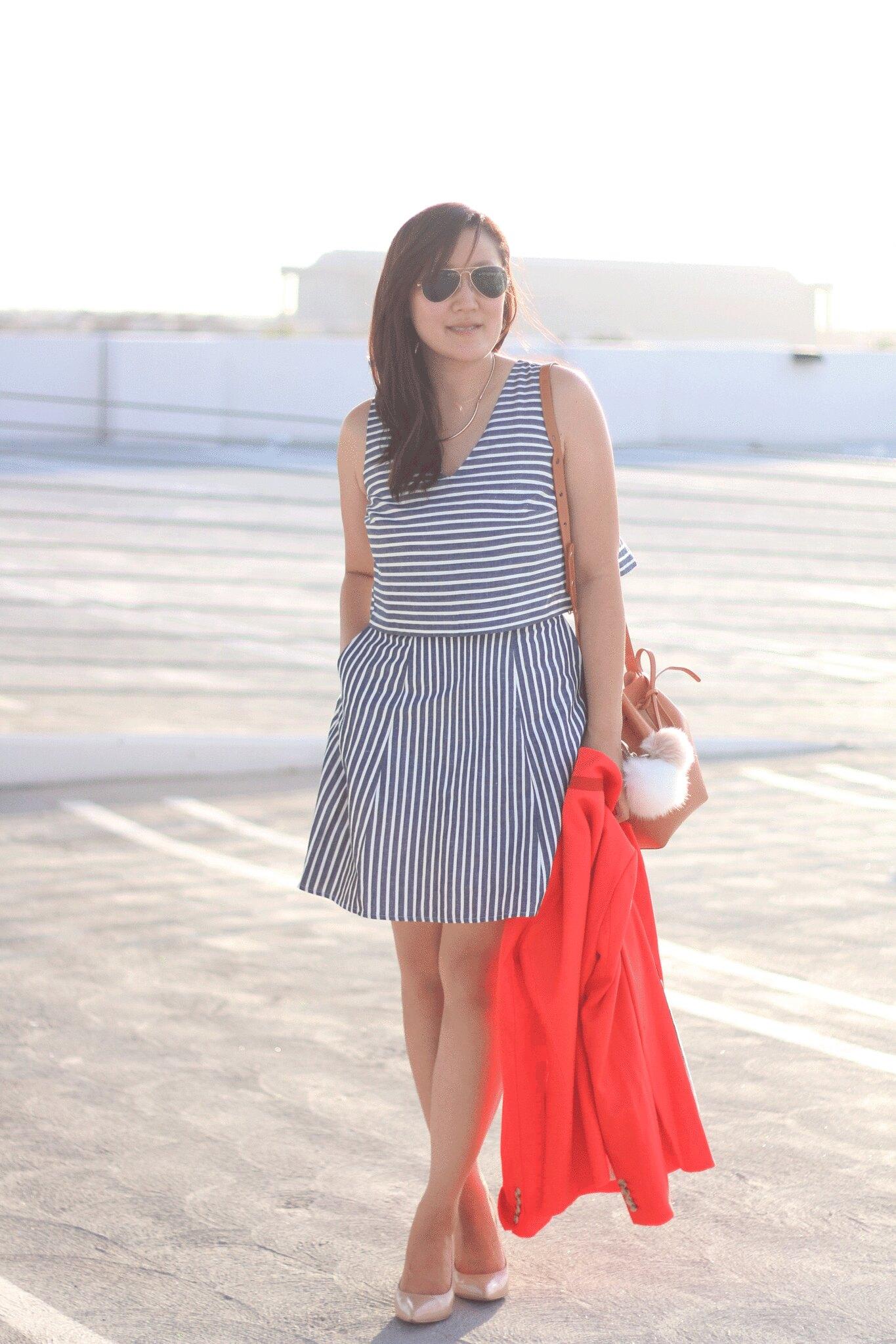simplyxclassic, striped dress, blue stripe dress, orange blazer, jcrew, j.crew, blogger, style blogger, mommy blogger, mom fashion, 1.state dress, 1.state, mansur graviel, bucket bag, ootd, style, fashion, what to wear