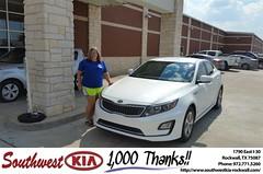 Congratulations Allie on your #Kia #Optima Hybrid from James Adams at Southwest KIA Rockwall!