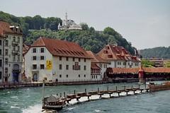 Speuerbrücke sur la Reuss, Musée historique et le château Gütsch (1888), Lucerne, canton de Lucerne, Suisse.