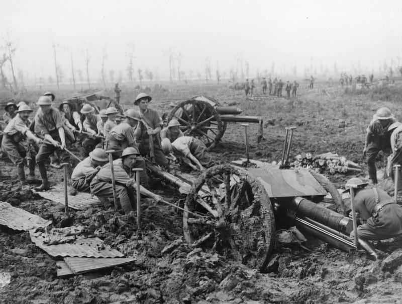 British soldiers haul an 18 pdr field gun out of the mud near Zillebeke.