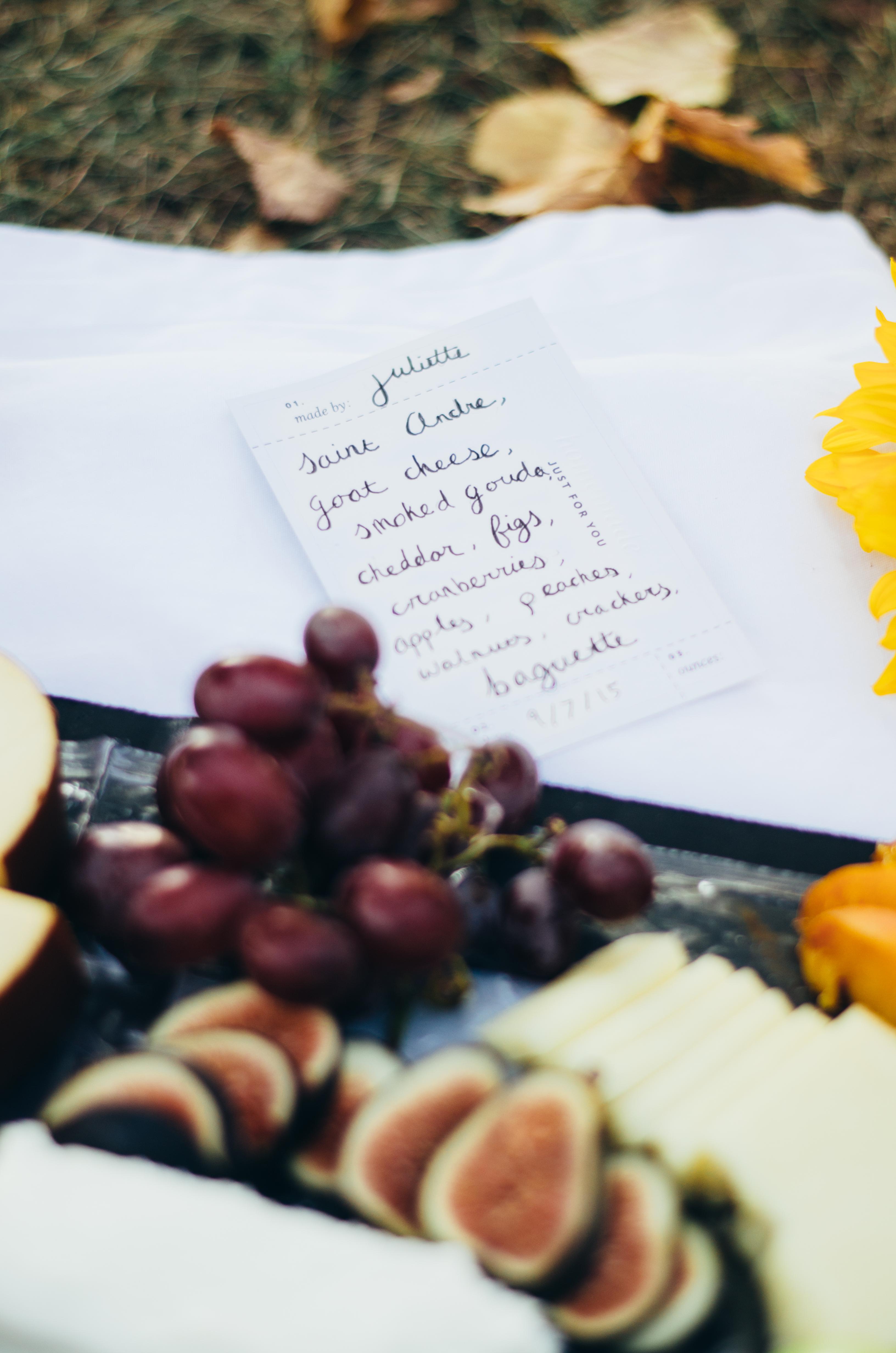 Hand made cheese board menu on juliettelaura.blogspot.com