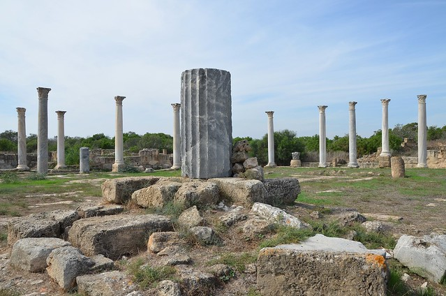 The Gymnasium with its columned palaestra, built over the ruins of an earlier Hellenistic gymnasium in the 2nd century AD during Trajan and Hadrian's reign after Salamis had been greatly damaged in 116 AD during Jewish revolt, Salamis, Northern Cyprus