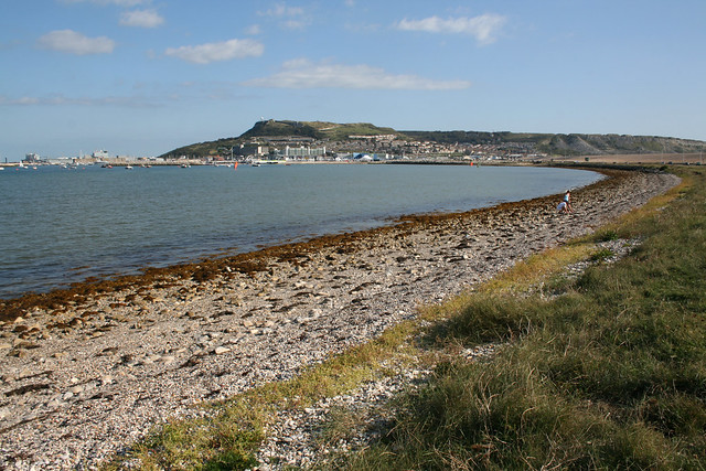 Portland from Chesil Beach