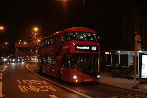 Metroline LT561 on Route 168, Bricklayer's Arms