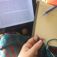 Ghosts and theory and knitting and coffee and snow. :ghost::books::older_woman::coffee::snowflake:#phdlife, #knitting