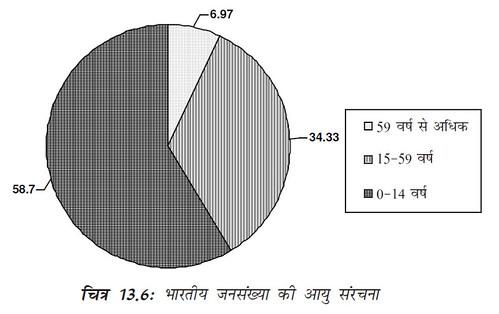 चित्र 13.6 भारतीय जनसंख्या की आयु संरचना