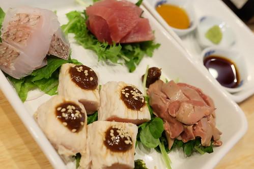 徳島産天然真鯛 わさび醤油 お刺身4種盛り肉と魚