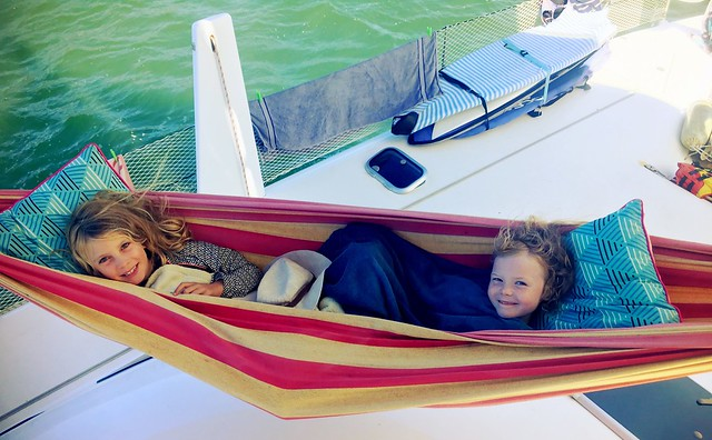 Daisy Belle and Olivia Rose. Hammock time on Bella Luna.