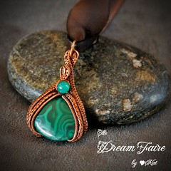 Mighty Malachite - Malachite, Green Onyx and Woven Copper Wire Necklace