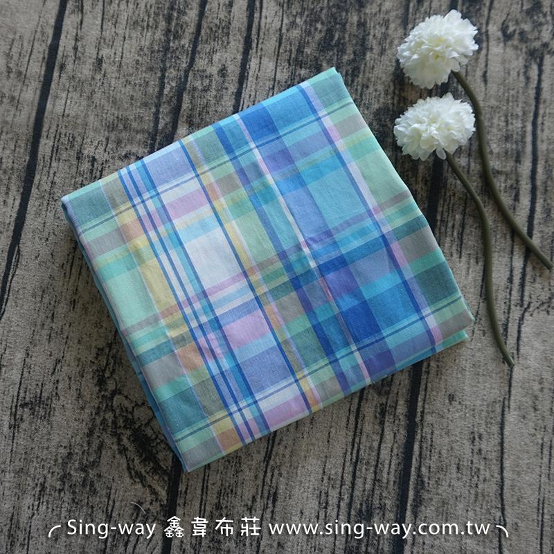 粉藍紫格子 格紋 襯衫洋裝服裝布料 FC590266