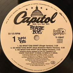 BEASTIE BOYS:SO WHAT 'CHA WANT(LABEL SIDE-A)