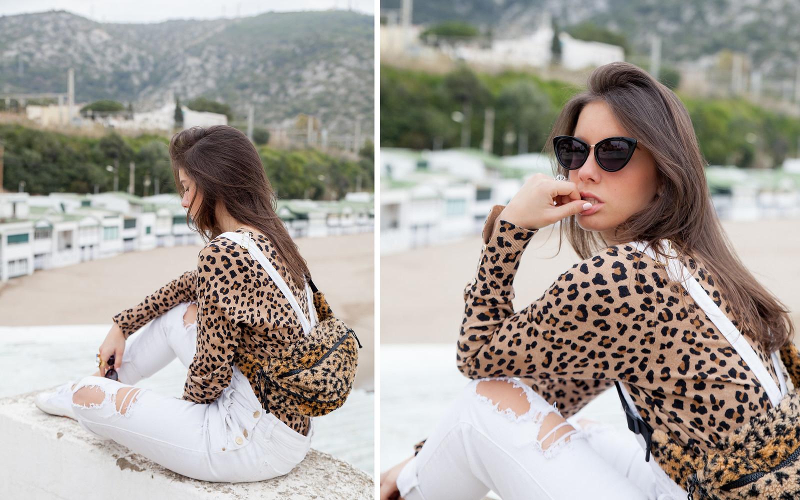 cómo cominar un peto blanco estilo sincerely jules a lo theguestgirl con riñonera Supreme y estampado leopardo laura santolaria