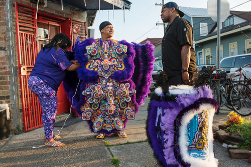 01- Monogram Hunters Big Chief Pie gets ready for Saint Joseph's Night in New Orleans on March 19, 2018. photo by Ryan Hodgson-Rigsbee RHRphoto.com