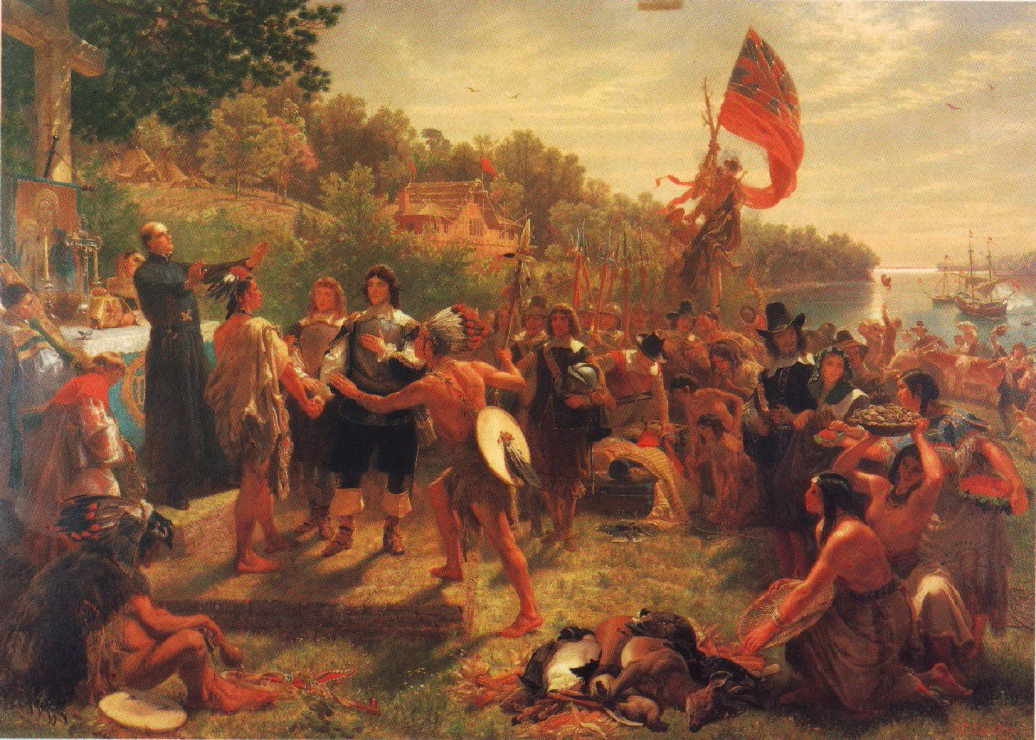 The Founding of Maryland (1634) depicts colonists depicted meeting the people of the Yaocomico branch of the Piscatawy Indian Nation in St. Mary's City, Maryland, the site of Maryland's first colonial settlement. The painting represents traditionally-held elements of Maryland's centuries-old founding narrative, though some details—such as the clothing worn by natives—are not necessarily accurate. The presentation is a mythic depiction and is an assembly of traditional tales about Maryland's founding. Father Andrew White, a Jesuit missionary, is believed to be on the left; other elements may be as follows: in front of him Leonard Calvert, the colonists' leader and the son of the first Lord Baltimore, is clasping hands with the paramount chief of the Yaocomico. Gifts of food offered to the new colonists are in the right foreground. In the right background are moored the sailing ships the Ark and the Dove, the vessels that brought the first colonists to Maryland. Painted by Emmanuel Leutze in 1860 while visiting St. Mary's City.