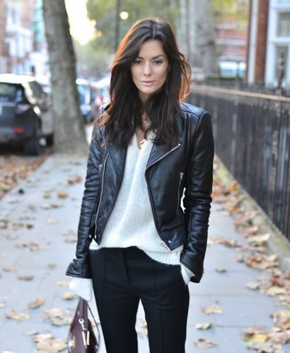 black-biker-jacket-white-chiffon-shirt