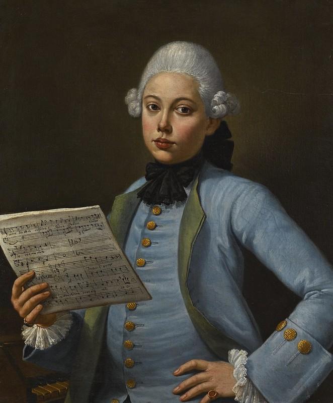 Neapolitan School, 18th Century - Portait of a soprano castrato possibly Adamo Solzi
