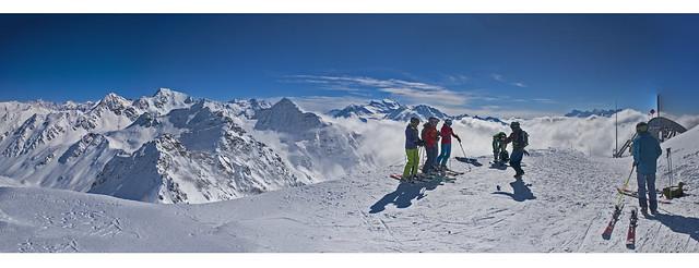 Verbier , Mont Gelé Panorama .Izakigur No. 7738 7739 7740 7741 Panorama. 21/03/2018 14:57:36. Canton of Valais , Switzerland.