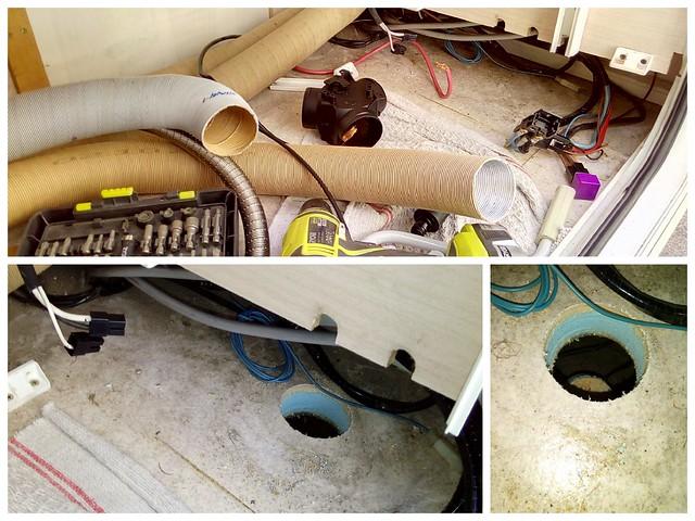 repérage, ajout de gaine d'air et découpe du plancher pour l'installation du chauffage gazole