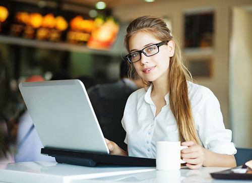 Woman with laptop soft focus on eyes Entrepreneur Business Affiliate Marketing Blogger freelancer - Credit to https://electrosawhq.com/