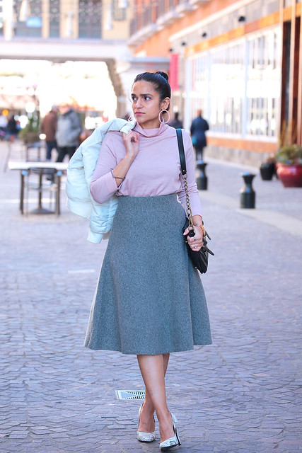 Chilly Spring Uniqlo Skirt Cos Blouse Tanvii.com