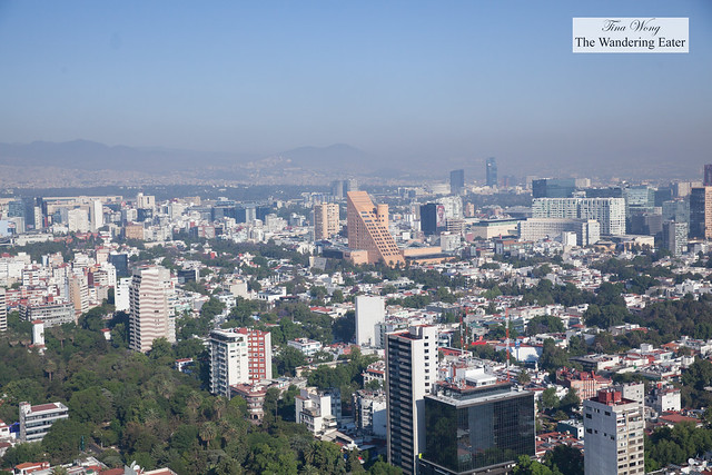 View of west Mexico City from the rooftop of Hyatt Regency (at the helipad)