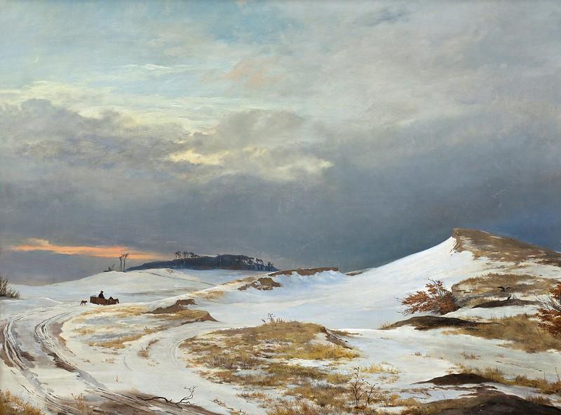 Johan Thomas Lundbye - Winter landscape with Northern Zealand character (1841)