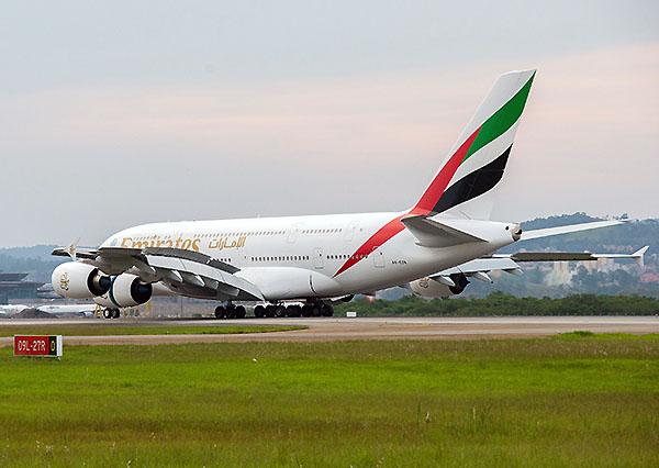 Emirates A380 en GRU (Emirates)