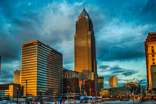 cleveland hdr nikon nikond5300 ohio architecture bus car cars city clouds downtown evening geotagged goldenhour lights reflection reflections sky skyscraper street urban window windows unitedstates