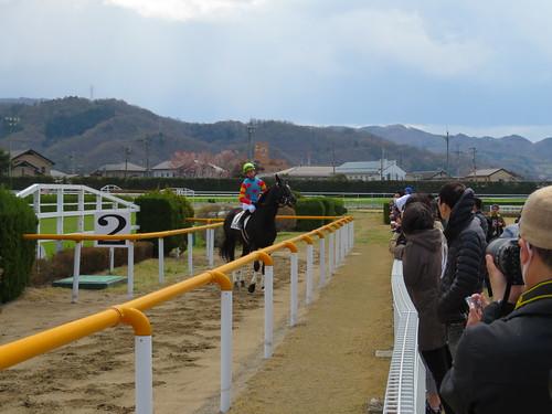 福島競馬場の障害コースを下見する騎手