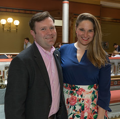 Rep. Stephanie Cummings met up with Waterbury Republican Registrar of Voters, Tim DeCarlo, during a meeting and public display of historic Connecticut political memorabilia at the Capitol on Wednesday, April 11.