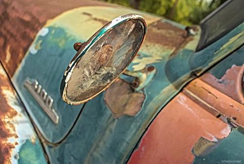 crackedrearview mirror temecula temeculaca california ca truck oldtruck peelingpaint sandiegocounty vineyard goldenstate