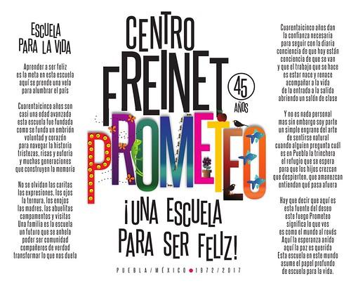 Centro Freinet Prometeo, un cartel de Aurora Berlanga y poema de Guillermo Briseño. por el aniversario del #Prome