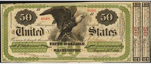 1861 $50 Interest Bearing Note front