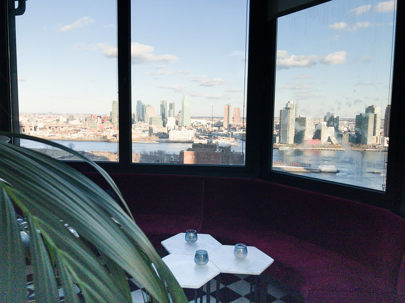 Panoramic view of Long Island City in this lounge