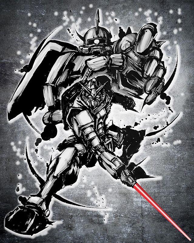 以水墨再現宿命對決!武人畫師「こうじょう雅之」×《機動戰士鋼彈》 武人畫 T-Shirt、裱框畫【ASOBISTORE限定】