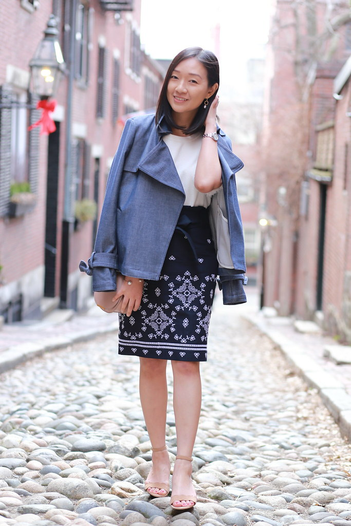 Ann Taylor Chambray Trench Coat + Floral Eyelet Pencil Skirt