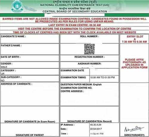 NEET Admit Card 2018 Sample