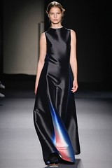 Olivier Lapidus brings in artist Krista Kim's tech color gradients for Lanvin's Fall 2018 collection.