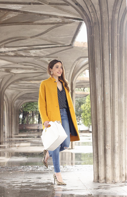 mustard coat polka dots shirt leopard heels white bag outfit 06