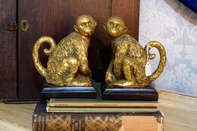 Monkey Bookends at Queen Bee Home, Canterbury