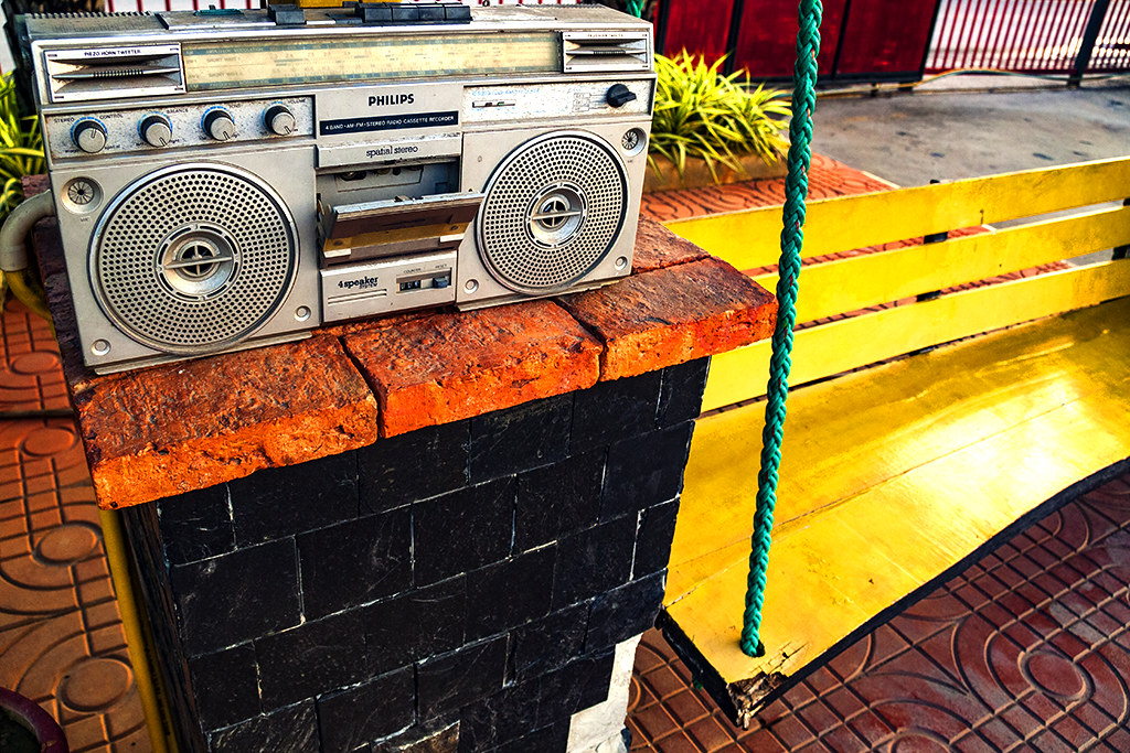 Boom box next to public swing--Chanthaburi